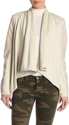 Blank NYC Blanknyc Denim Faux Leather Mixed Media Drape Front Jacket