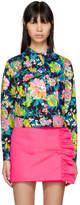 MSGM Multicolor Cropped Floral Denim Jacket
