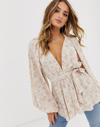 Asos Design DESIGN long sleeve plunge top with kimono sleeve and belt in paisley print-Multi