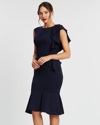 Bariano Angela Drape Frill Midi Dress
