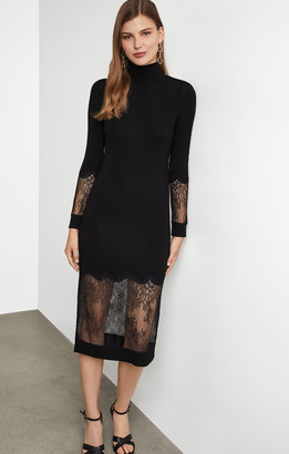 BCBGMAXAZRIA Lace-Trimmed Sheath Dress