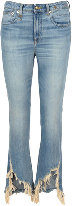 R 13 Ripped Cropped Jeans