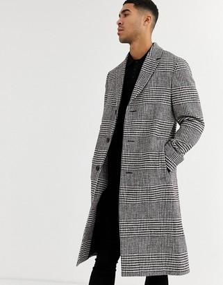 Calvin Klein glencheck long coat-Red