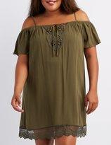 Charlotte Russe Plus Size Crochet-Trim Cold Shoulder Shift Dress