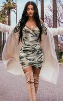 PrettyLittleThing Shape Khaki Mesh Camo Ruched Bardot Bodycon Dress
