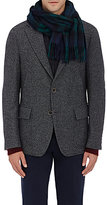 Drakes Drake's Men's Plaid Wool-Angora Scarf-NAVY