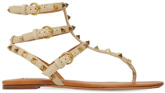 Valentino 10mm Rockstud Woven Textile Sandals