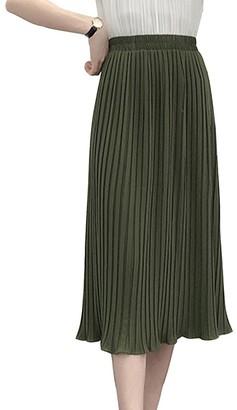 LaoZanA Women A-Line High Waisted Elegant Flounced Chiffon Pleated Midi Skirt Army Green S