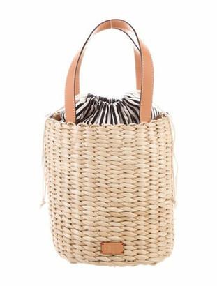 Frances Valentine Raffia Woven Bucket Bag w/ Tags Gold