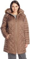 Kenneth Cole Reaction Kenneth Cole Womens Outerwear Plus-Size Diamond Quilt Down Coat