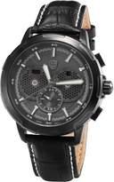 Shark Men's SH359 Quartz Day/Date Display Chronograph Black Dial Leatcher Band Watch