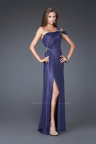 La Femme Elegant One-Shoulder Sheath Evening Dress 16260