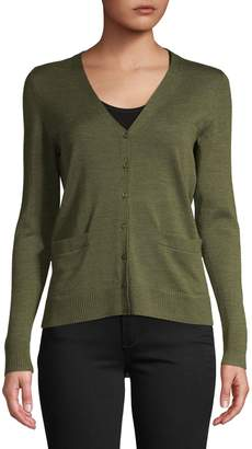 Lord & Taylor Petite Wool V-Neck Cardigan