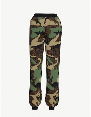Moschino Branded camo-print high-rise wool jogging bottoms