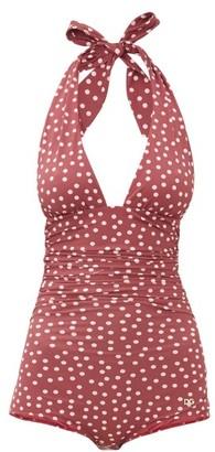 Dolce & Gabbana Halterneck Ruched Polka-dot Swimsuit - Burgundy Print
