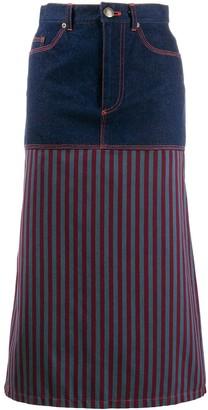 Jean Paul Gaultier Pre Owned 1990s Striped Panel Denim Skirt