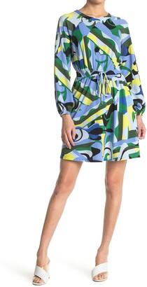Donna Morgan Abstract Print Drawstring Waist Dress
