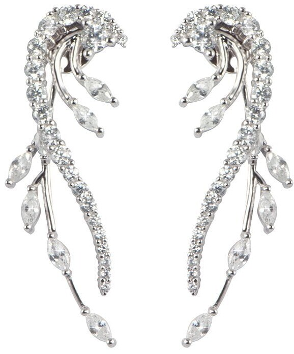 Thumbnail for your product : Apples & Figs Feather Curve crystal-embellished earrings