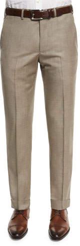 Armani Collezioni Flat-Front Wool Trousers, Tan