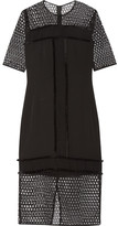 By Malene Birger Katnesa Fringed Crepe De Chine And Crocheted Lace Dress - Black