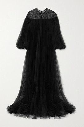Huishan Zhang Ilaria Oversized Sequin-embellished Pleated Tulle Gown - Black