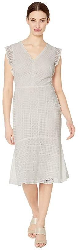 Lauren Ralph Lauren Celia Cap Sleeve Day Dress (Matte Ivory) Women's Dress