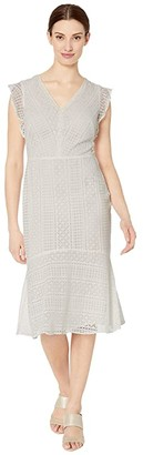 Lauren Ralph Lauren Celia Cap Sleeve Day Dress (Matte Ivory) Women's Dress