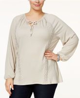 Style&Co. Style & Co Plus Size Lace-Trimmed Bishop-Sleeve Peasant Top, Only at Macy's