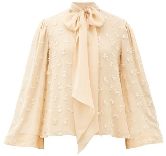 Chloé Pussy-bow Guipure Lace-embroidered Silk Blouse - Womens - Cream