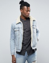 Rollas Stonewash Denim Fully lined Sherpa Jacket