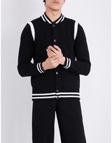 Givenchy Contrast-trim Knitted Wool-blend Bomber Jacket