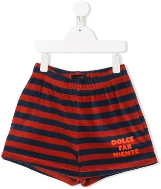 Tiny Cottons Striped Logo Print Shorts