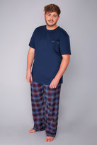 Yours Clothing Navy & Multi Loungewear Set With Checked Bottoms