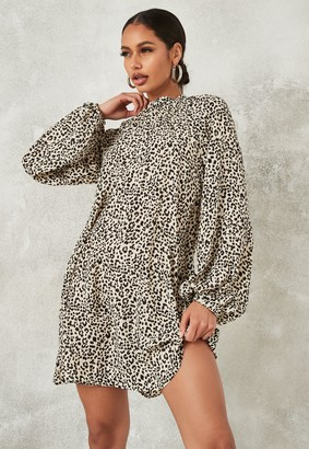 Missguided Stone Leopard Print High Neck Shift Dress