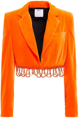 Area Cropped Crystal-embellished Velvet Jacket