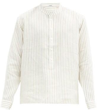 COMMAS Striped Stand-collar Linen Shirt - Cream Multi