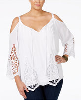 INC International Concepts Plus Size Lace-Trim Cold-Shoulder Top, Only at Macy's