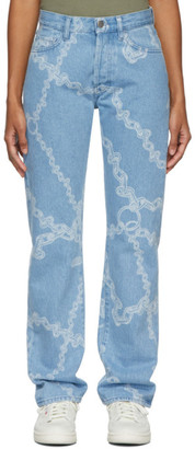 Aries Blue Lilly Chain Print Jeans
