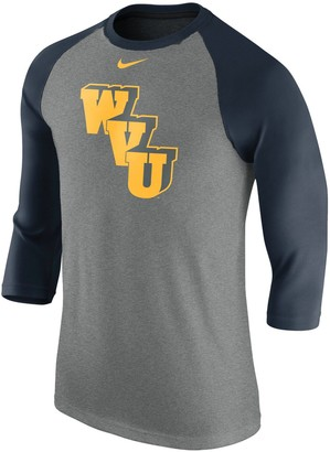 Nike Men's Heathered Gray West Virginia Mountaineers Retro Tri-Blend Three-Quarter Sleeve T-Shirt