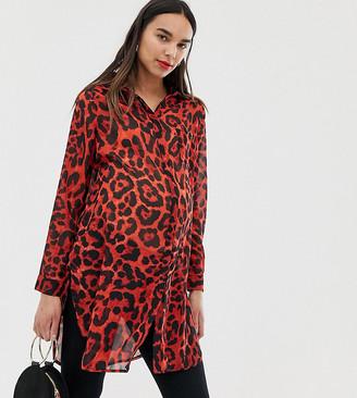 New Look Maternity chiffon shirt in animal print-Black