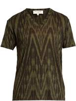Etro Ikat-print V-neck linen T-shirt