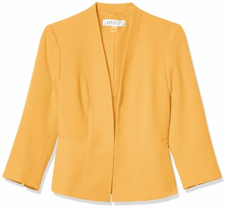 Kasper Women's Plus Size Long Sleeve Stretch Crepe Open Cardigan