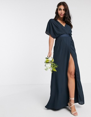 Asos Design DESIGN Bridesmaid short sleeved cowl front maxi dress with button back detail-Navy