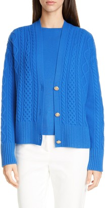 St. John Galway Cable Knit Cardigan