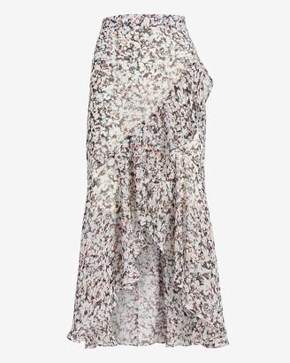 Express High Waisted Printed Ruffle Hi-Lo Maxi Skirt
