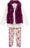 Nannette 3-Pc. Faux-Fur Vest, Top & Leggings Set, Toddler Girls' & Little Girls (2T-6x)
