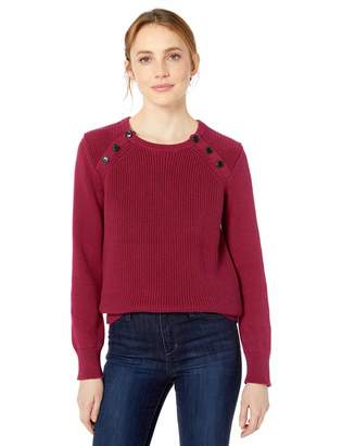 Mulberry Cable Stitch Women's Raglan Shaker Stitch Pullover Marled X-Large