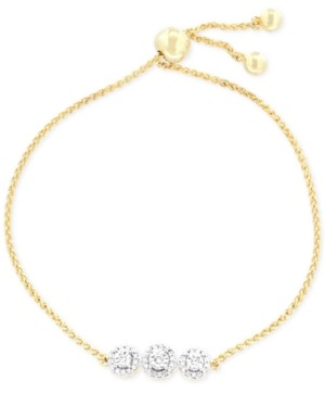 Wrapped Diamond Cluster Bolo Bracelet (1/6 ct. t.w.) in 14k Gold-Plated Sterling Silver, Created for Macy's