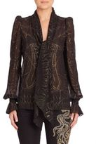 Roberto Cavalli Metallic Georgette Tie Neck Blouse