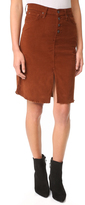 James Jeans Lana Baby Cord Front Slit Skirt